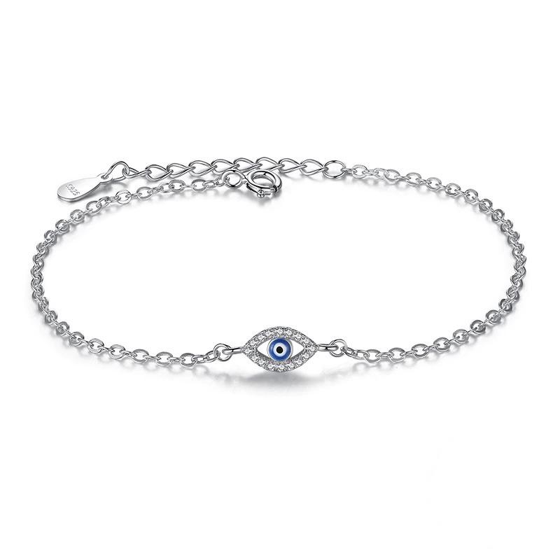 Bracelet en argent et émail bleu oeil de chance pour femme