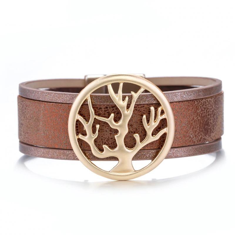Bracelet large arbre de vie en cuir pour femme