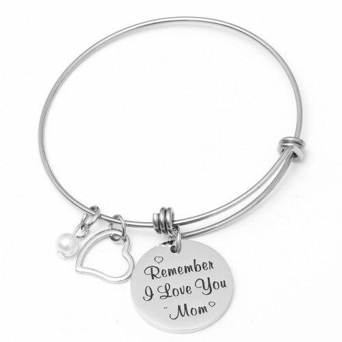 Bracelet ajustable argenté, estampillé toujours ma mère/fille éternellement... Bijoux pour maman
