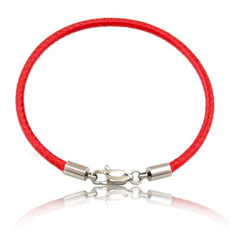 Bracelet corde en cuir noir ou Rouge - Bracelet élégant pour Femmes Hommes
