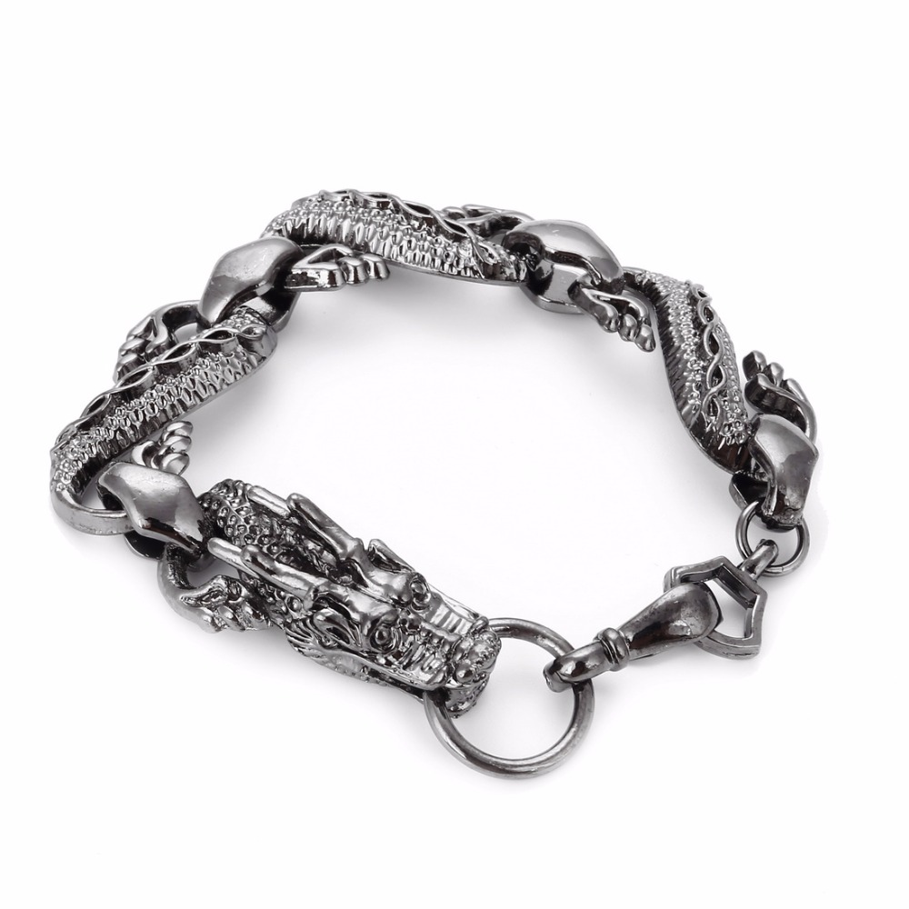 Noir-Feu-Dragon-bracelets-de-perles-Hommes-Vintage-Halloween-Bijoux-Alliage-bracelets-m-talliques-et-Bracelets
