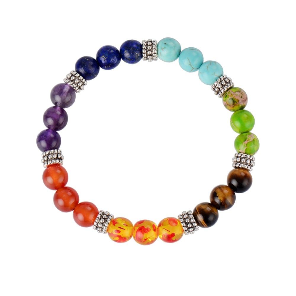 7 Chakra Bracelet Pierre Naturelle pour femme ou homme, Guérison et Équilibre