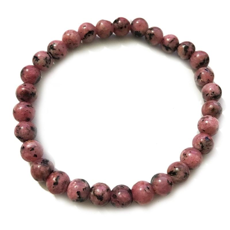 Bracelet en pierre naturelle rose noir extensible