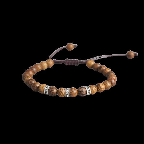 Bracelet tressé à la main tibétain bouddhiste attirer la chanceux en perles de bois sculpté à la main