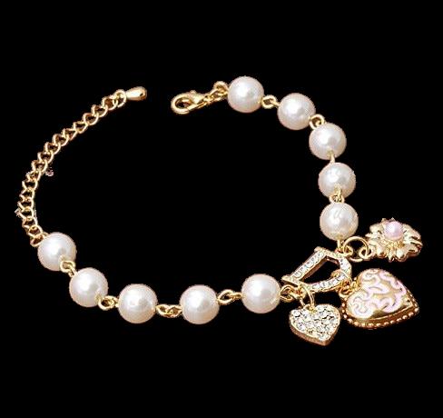 Bracelet En Cristal Coeur Fleurs Lettre D Accrocher