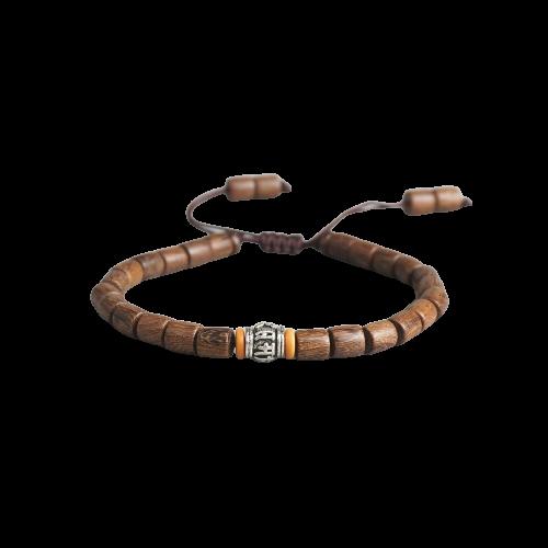 Fait à la main, bracelet tibétain prière roue perle Olive, Mantra