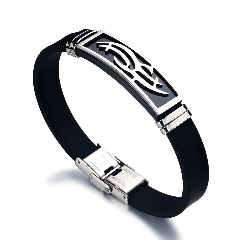 Bracelet en Silicone pour homme avec manchettes en acier inoxydable