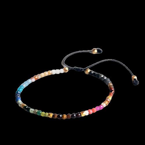 Bracelet Simple en pierre porte-bonheur, bijou ajustable, perles 3mm