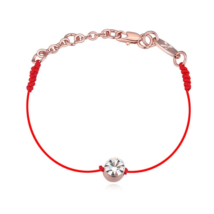 Corde à fil rouge mince cristaux autrichiens pour femme, bijou tendance style été