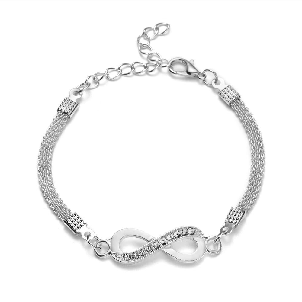Bracelet infini strass bijoux pour femme