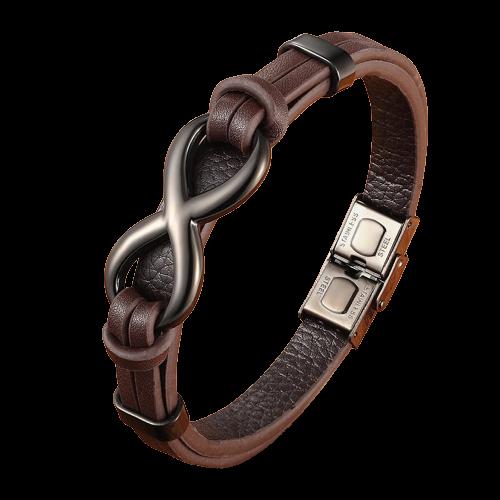 Bracelet en cuir en acier inoxydable avec signe infini