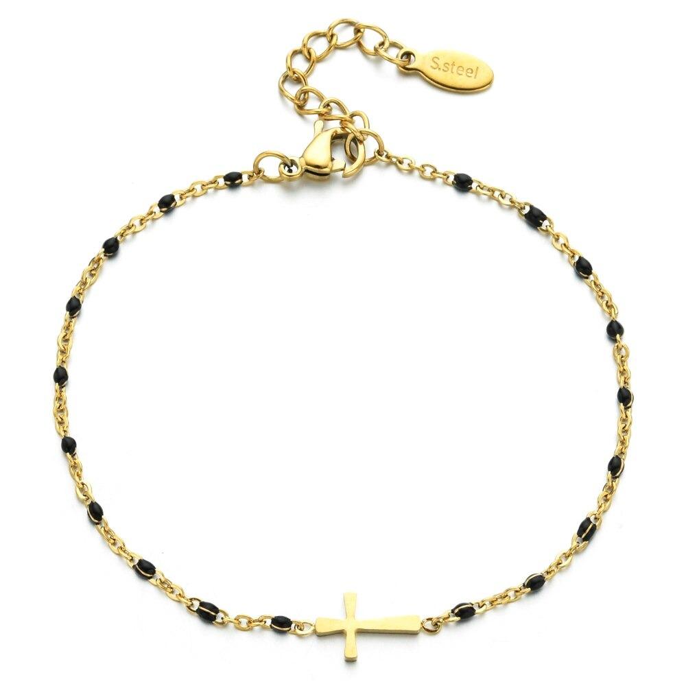 Bracelet tendance en acier inoxydable couleur or pour fille, fin, avec croix