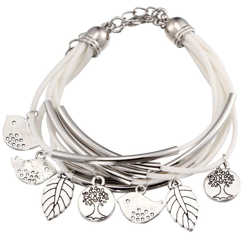 Bracelet en cuir multi-couches pour femme, couleur noir/marron/Beige, Mini pendentif d\'oiseaux
