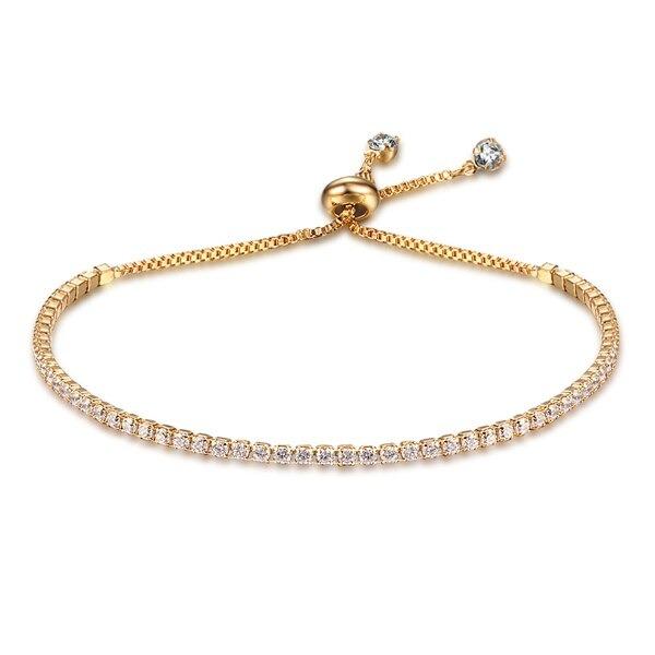 Bracelet réglable pour femme 2mm zircon cubique