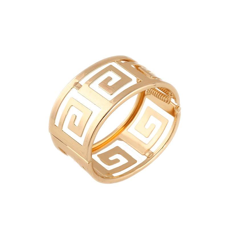Bracelet géométrique creux et large en métal doré ou argenté pour Les Femmes