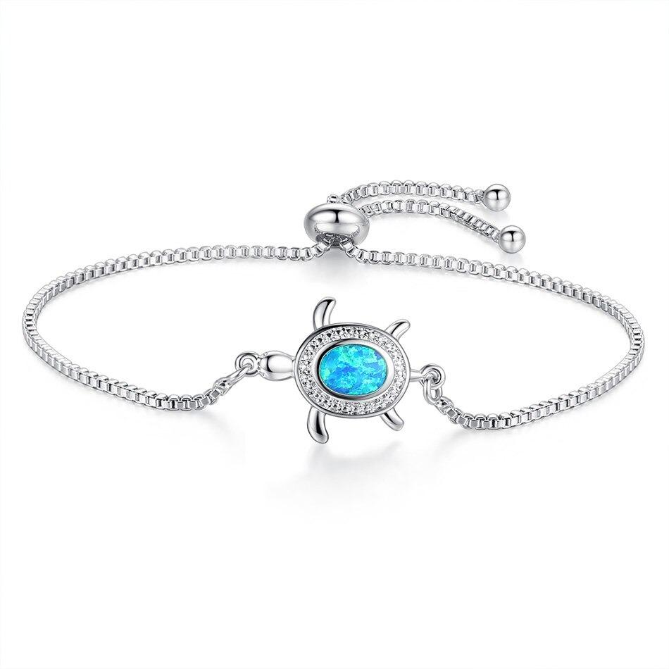 Bracelet femme tortue de mer opale bleue, bijoux de plage