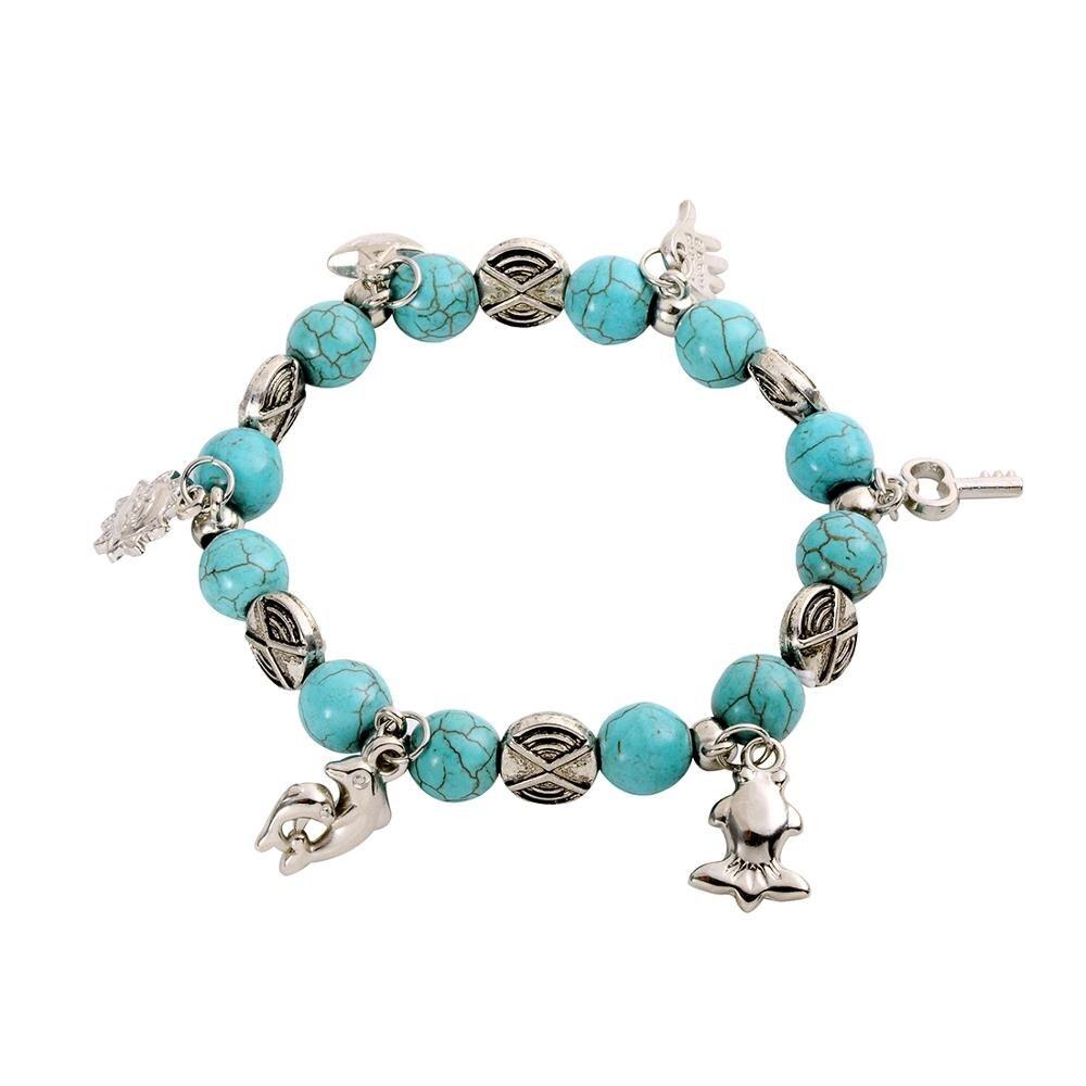 Bracelet Perles de pierre bleu Turquoises