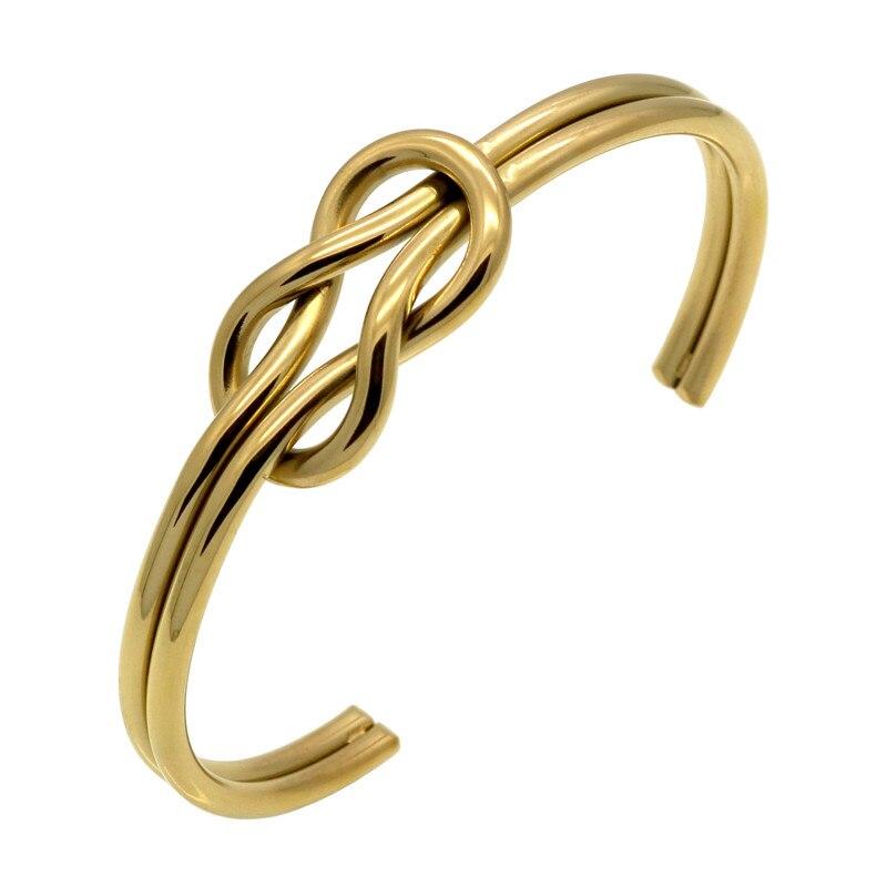 Bracelet Manchette avec nœud en acier titane, couleur or, pour femme