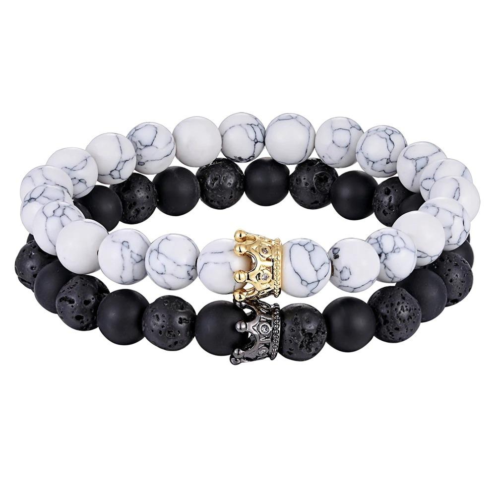 Bracelet en pierre avec couronne et accessoires perles