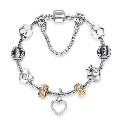 Bracelet argenté Antique pour femme, bijou avec cœur de fleur
