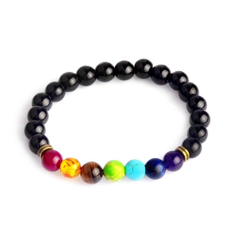 Bracelet multicolore oeil de tigre en pierre résine noire