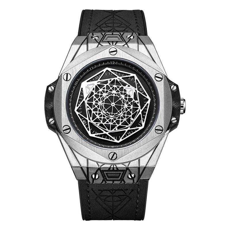Montre à Quartz ajourée pour homme, bracelet en cuir, Design rétro