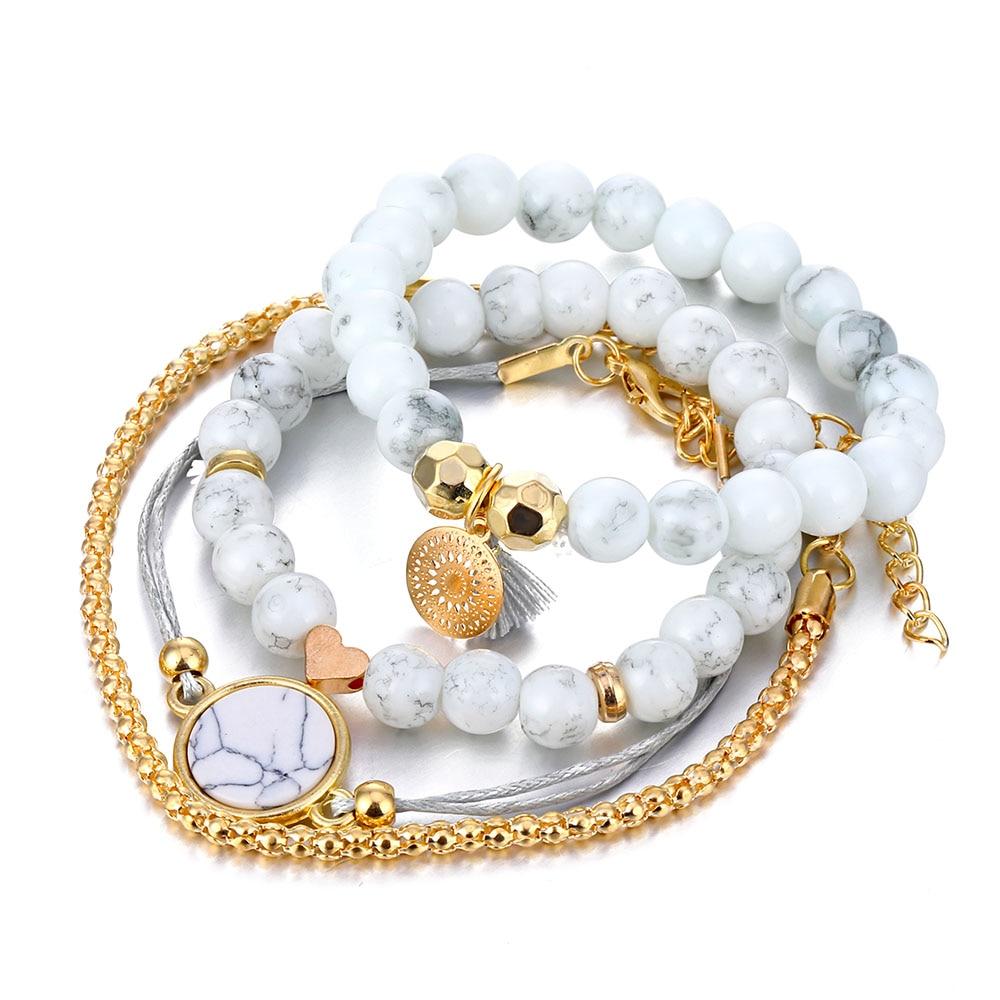 Ensemble de bracelet cœur Lotus marbres mélangés pour femme