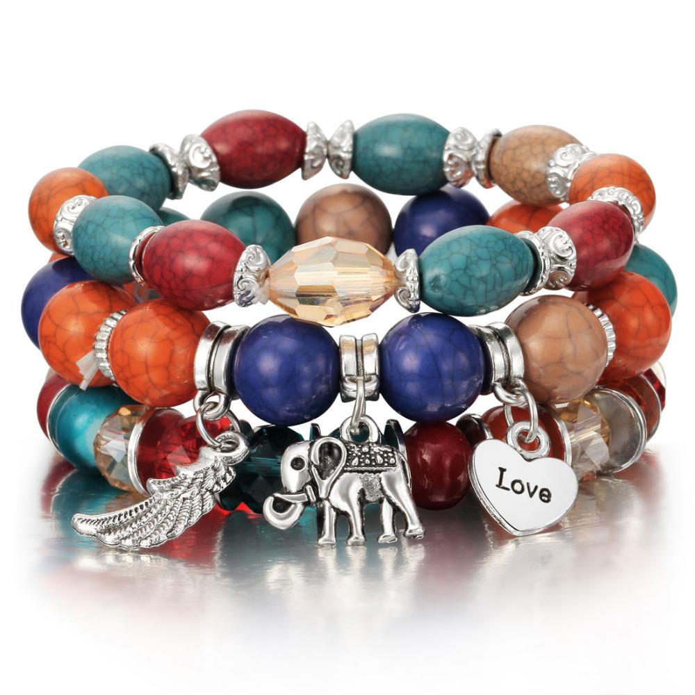 En perles colorée Long Bracelet pour les femmes