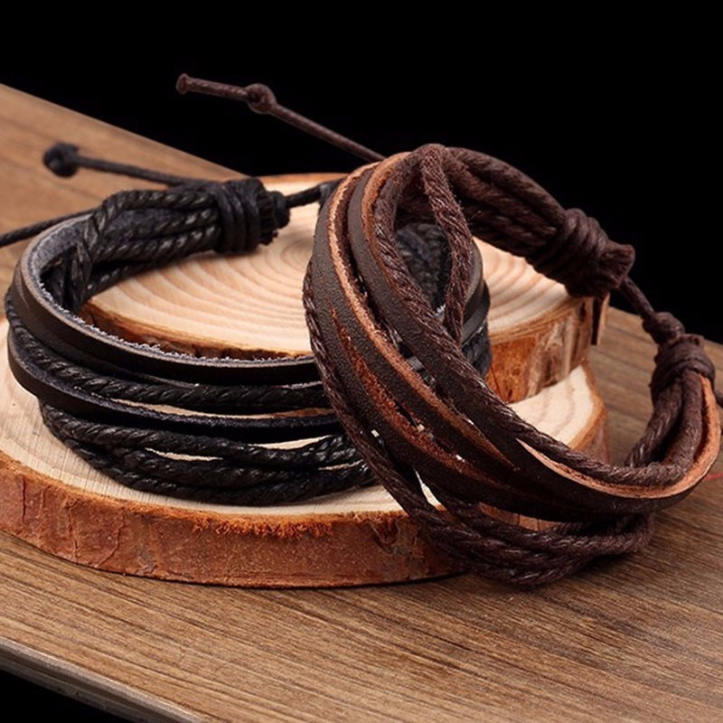 Bracelet en corde de cuir tressé