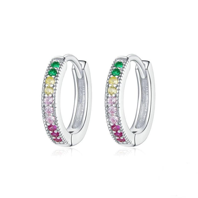 Boucles d\'oreilles hypoallergéniques en argent sterling 925, bijoux colorés pour femmes et filles