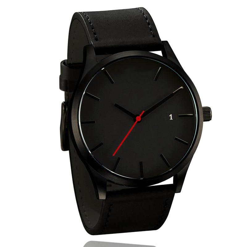 Montre classique à quartz pour homme, montre-bracelet simple en cuir