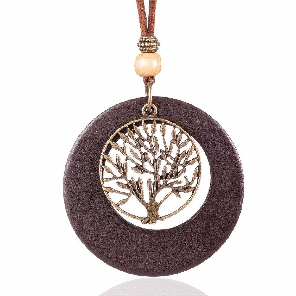 Collier pendentif arbre de vie en bois