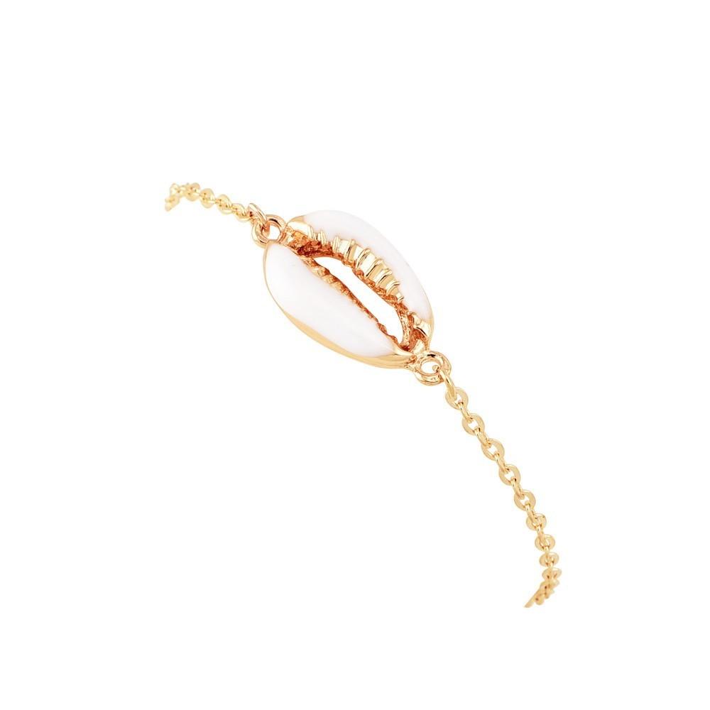 Bracelet en coquillage couleur or pour femme