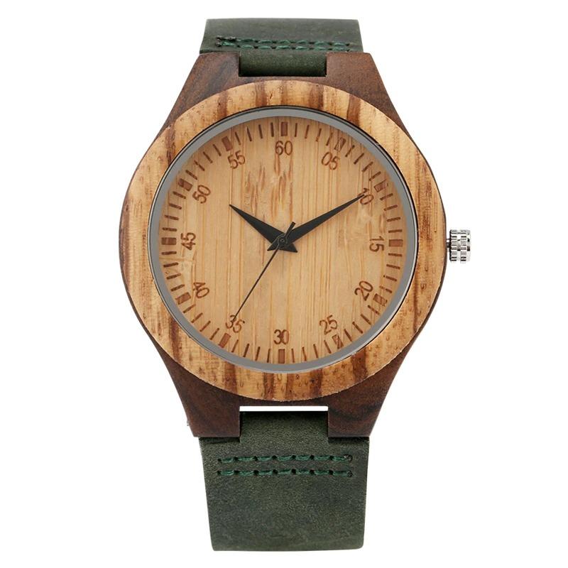 Montre en bois rétro en cuir vert foncé pour homme
