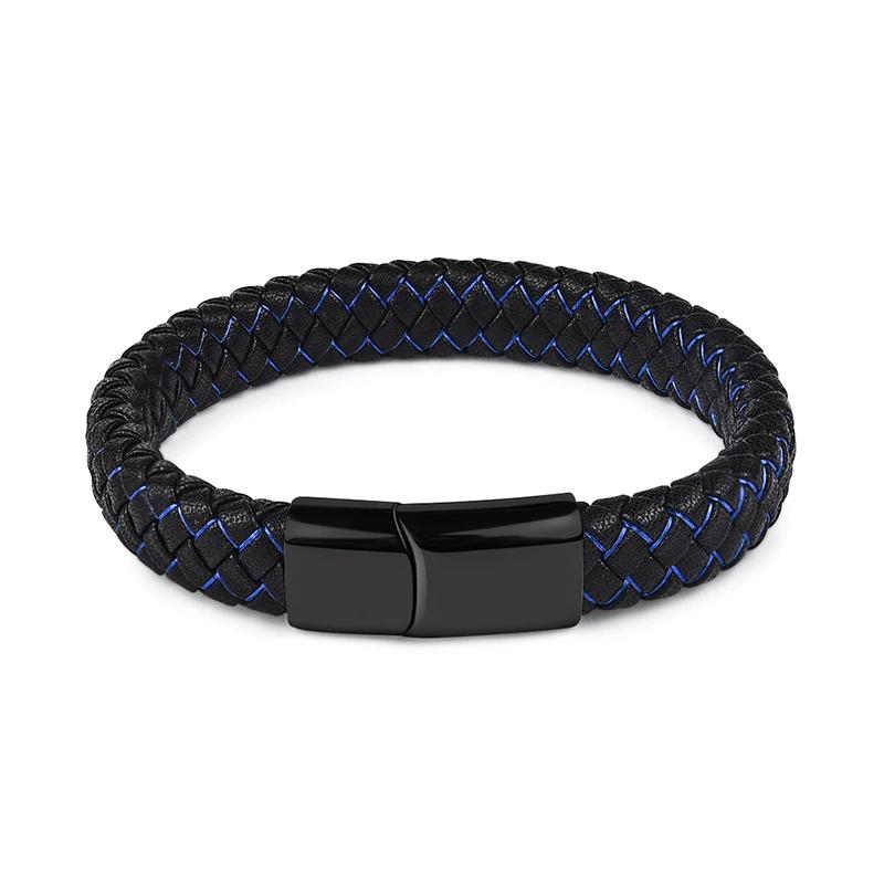 Noir Bleu Tressé En Cuir Bracelet pour Hommes