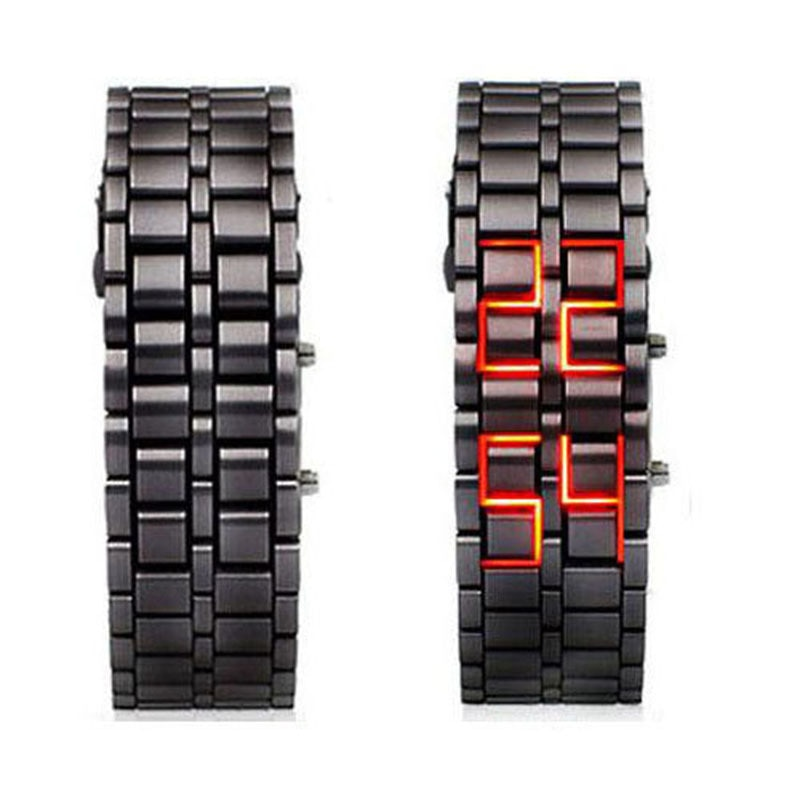 Montre numérique en métal noir affichage / Rouge