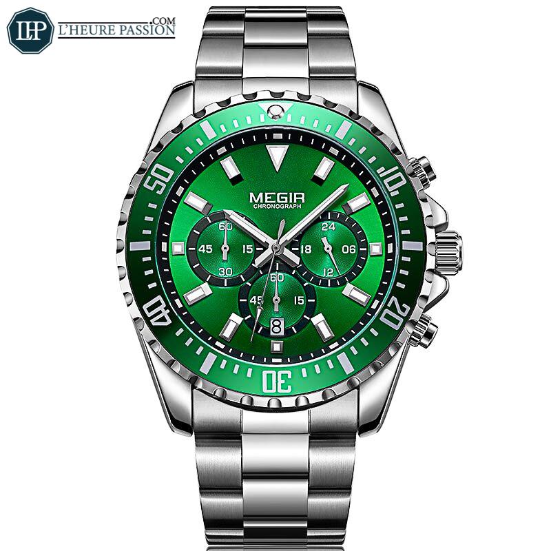 Montre homme chronographe cadran vert