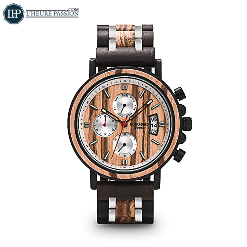 Montre en bois chronographe de luxe