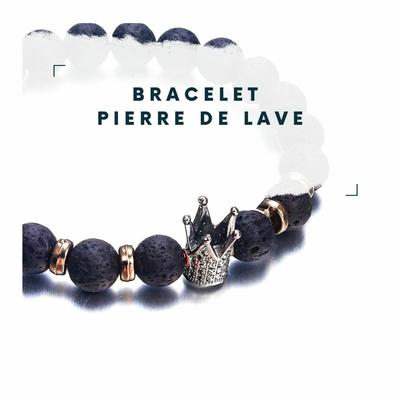 Bracelet Pierre De Lave Pave et Couronne Impériale