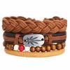 SI-ME-De-Mode-Multicouche-En-Cuir-Bracelets-Set-pour-Hommes-Femmes-Vintage-Plume-Corde-Weave