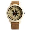 Navigation-l-gant-bambou-montre-bracelet-Cool-boussole-impression-visage-en-cuir-souple-bande-la-mode