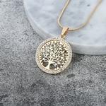 Arbre-de-vie-chaude-cristal-rond-petit-pendentif-Collier-or-argent-couleurs-Bijoux-Collier-l-gant