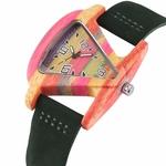 Creative-Femmes-montre-en-bois-Unique-Color-En-Bois-Triangle-Creux-montre-quartz-Dames-l-gant