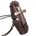 Bracelets-Vintage-en-cuir-pour-hommes-bijoux-Bracelet-j-sus-en-m-tal-cordon-de-cire