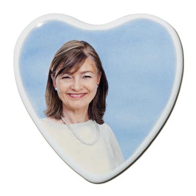 Photo porcelaine funéraire coeur couleur BB-Blanc