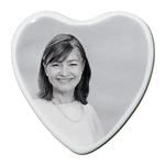 Photo porcelaine funéraire coeur N&B BB-Blanc
