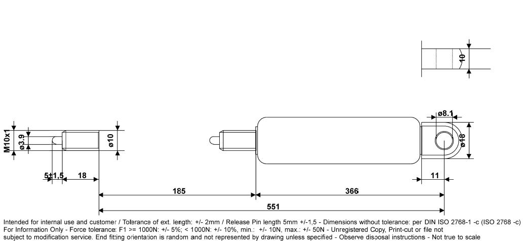 schéma vérin à gaz 1200 N tablelya bansbach