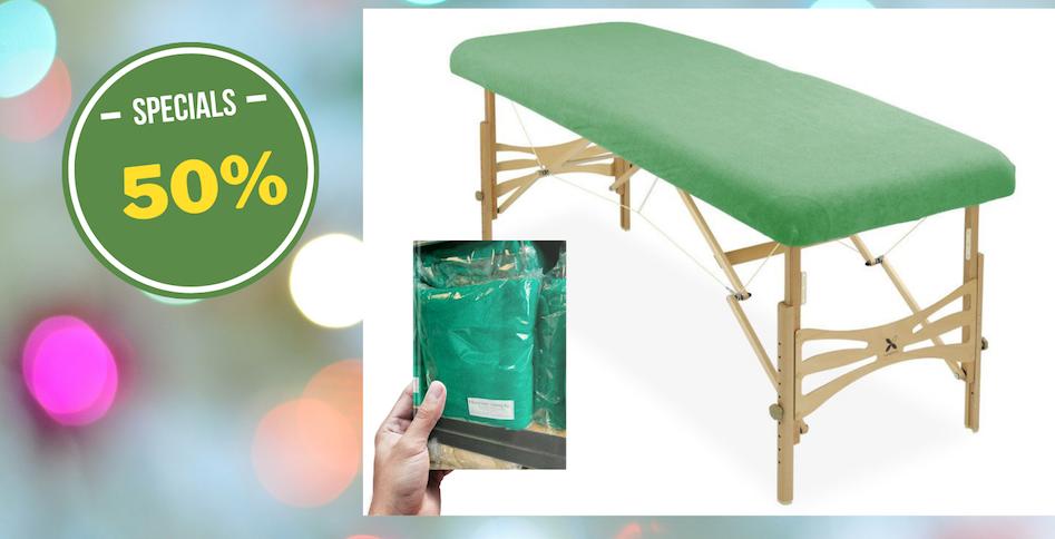 Housse éponge coton pour table de massage portable verte émeraude
