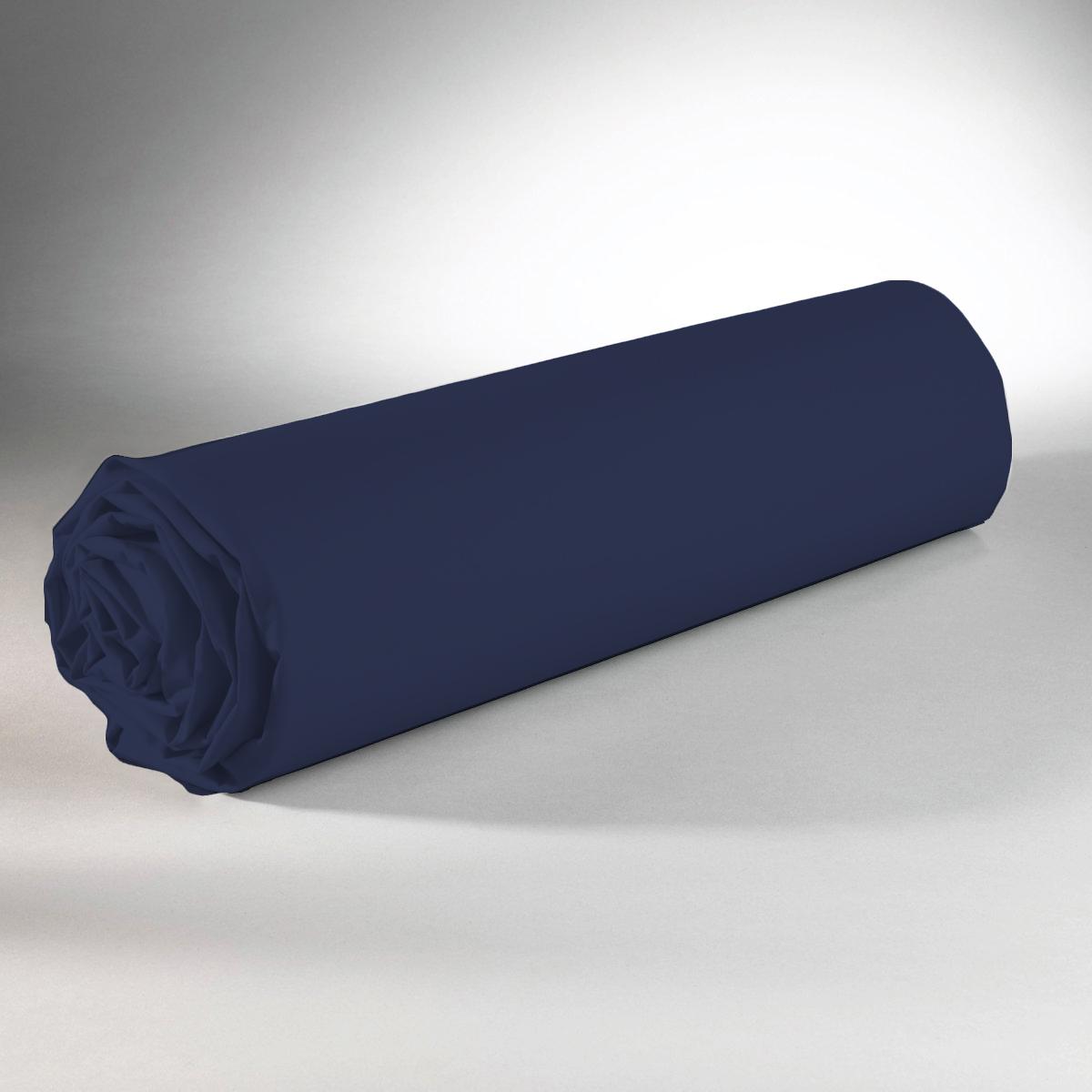 Drap housse 100% coton 180x200+25 bleu fonce
