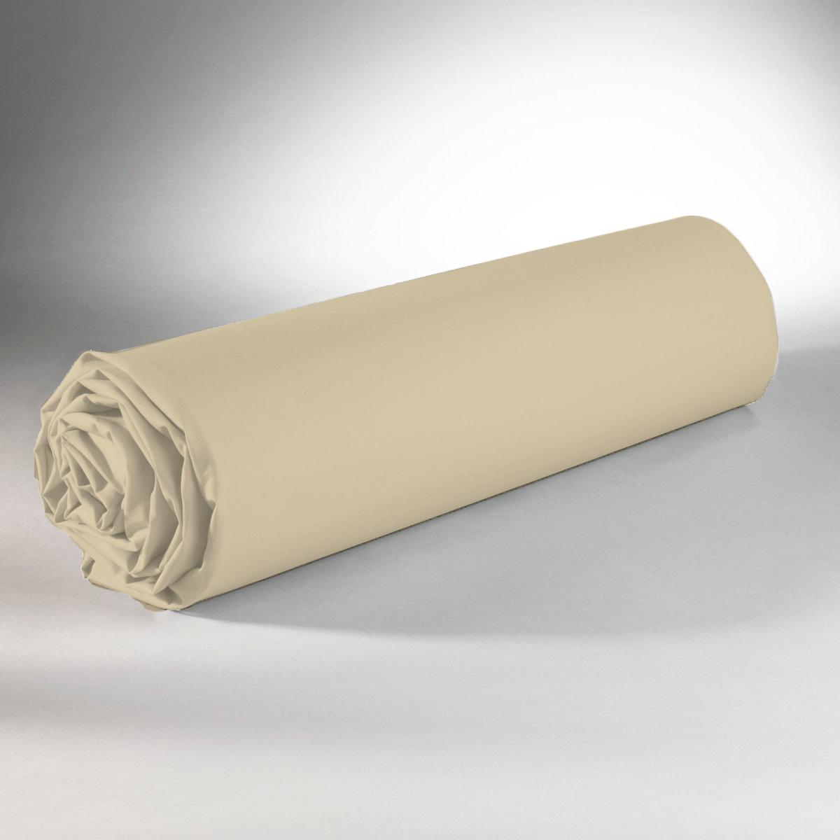 Drap housse 100% coton 180x200+25 marron clair